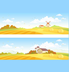Autumn fields banners vector