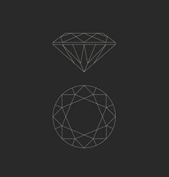 diamond line drawing vector image vector image