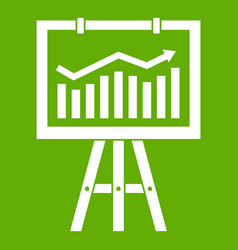 flipchart with marketing data icon green vector image vector image