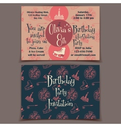 Ice skating birthday party invitation cards vector