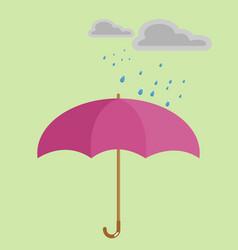 rain on red umbrella on background vector image