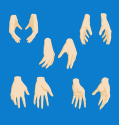 set of cartoon-style girl hands in different vector image vector image