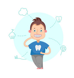 The boy with braces vector image vector image