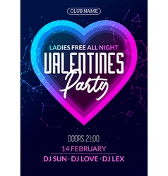 valentine party poster or flyer design template vector image