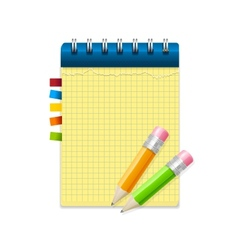 Yellow note paper and pencils vector image