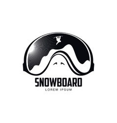Black and white graphic mountain skiing goggles vector image