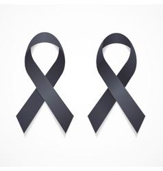 Black Ribbon Mourning and Melanoma Sign Set vector image