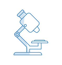 Blue silhouette shading microscope science tool vector