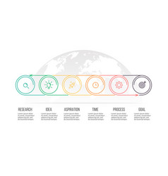 business process timeline with 6 options circles vector image