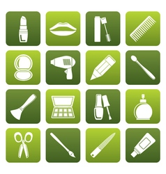 Flat cosmetic make up and hairdressing icons vector image vector image