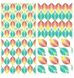 Seamless patterns with colorful leaves vector image vector image