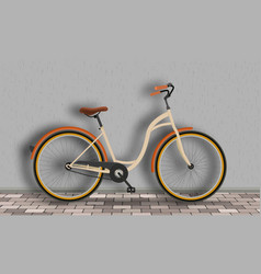 vintage bicycle stands against the wall on the vector image