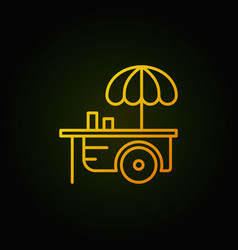 Wheel market stall with umbrella yellow icon or vector