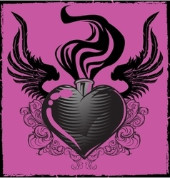 Wingwd Tattoo Heart vector image
