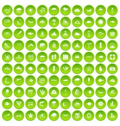 100 diving icons set green circle vector