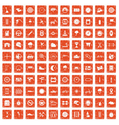 100 motorsport icons set grunge orange vector