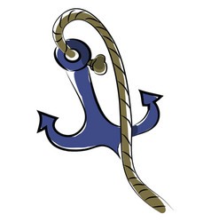a blue anchor with rope ready to be connected to vector image