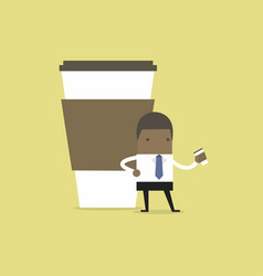 african businessman has coffee break vector image