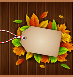 Autumn leaves sale tag on wooden background vector