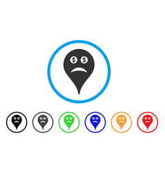 Bankrupt smiley map marker rounded icon vector
