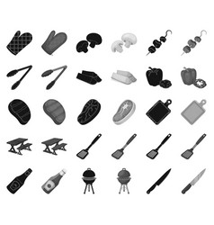Barbecue and equipment blackmonochrome icons in vector