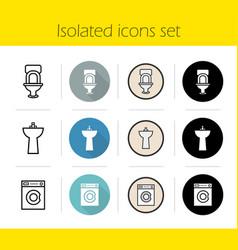 bathroom interior icons set vector image