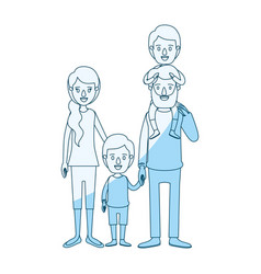 Blue silhouette shading caricature family parents vector
