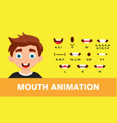 Boy mouth animation with different expressions vector