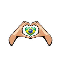 Brazil flag and hand on white background vector