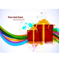 Bright background with box vector image