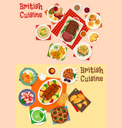 British cuisine icon of breakfast and dinner dish vector