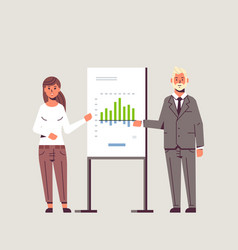 businesspeople coworkers presenting financial vector image