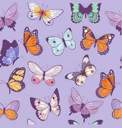 butterflies seamless pattern flying beautiful vector image