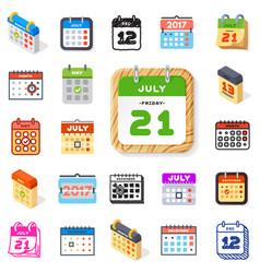 Calendar icons office organizer set vector