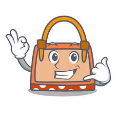 call me hand bag mascot cartoon vector image