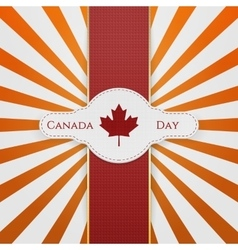 Canada Day national Emblem with red Ribbon vector image