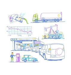 Car refueling turn drawings by hand vector image