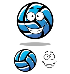 Cartoon blue volleyball ball character vector image