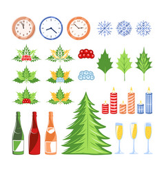 christmas elements set isolated on a white vector image