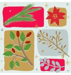 Christmas floral seamless background vector