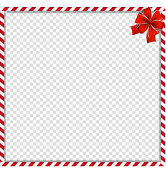 Christmas new year cane square frame with red vector