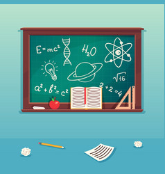class blackboard with chalk piece and school vector image