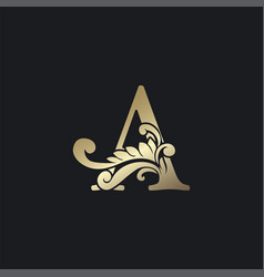 Classy gold letter a luxury decorative initial vector