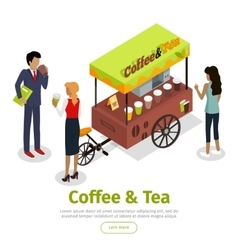 Coffee Tea Concept Isometric Web Banner vector