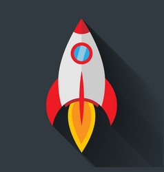 colour rocket icon in flat style with shadow vector image