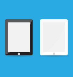 Computer tablet with blank white screen realistic vector