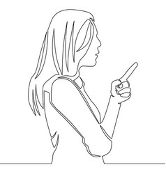 continuous line drawing woman showing something vector image