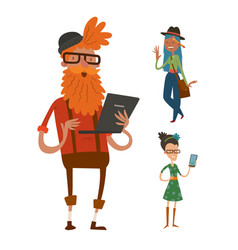 creative team people hipster business landing page vector image