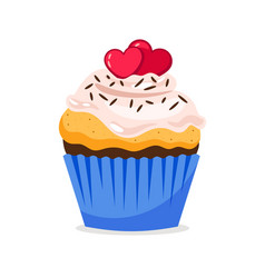 cupcake with hearts decoration and confetti vector image