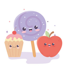 Cute appple candy in stick and cupcake kawaii vector